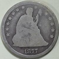 1877 - CC  Seated Liberty Quarter - ** VG **  Carson City