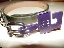 Women's XL Olive Green Ava & Viv Silver-Finished Metal Loop Faux-Leather Belt