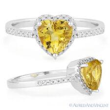 Promise Ring 14k White Gold 1.29ct Heart-Shape Citrine Round Diamond Right-Hand