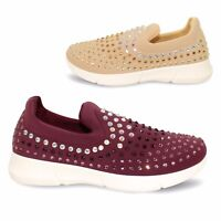 New Womens Casual Walking Lightweight Gym Trainers Slip On Diamante Pumps Shoes