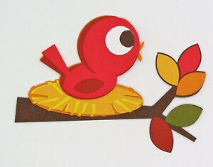 Fall Bird in a nest Paper Scrapbook Embellishment