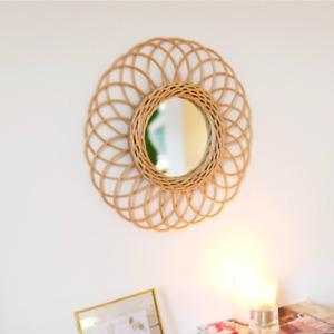 Round Natural Rattan Mirror Floral Design