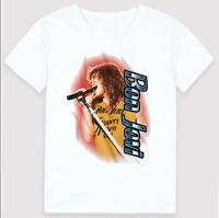 Bon Jovi Band Tee Men White Unisex Short Sleeve Cotton T-shirt Size S-234XL H322