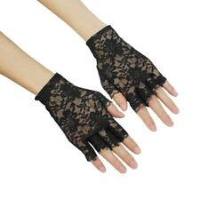 Black lace ladies fingerless gloves costume fancy dress sexy haloween 80's