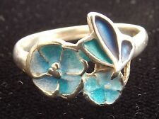 Sterling Silver and Enamel Ring By PAT CHENEY flowers and butterfly  1982 size N