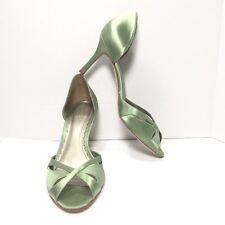 Women's ANN TAYLOR Green Satin Peep Toe High Heel Pumps 8.5 M