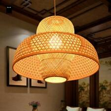 Bamboo Wicker Rattan Castte Shade Pendant Light Fixture Ceiling Lamp Kitchen E26