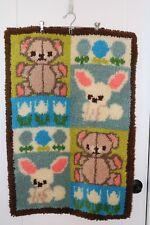 """Vintage Latch Hook Rug - Nursery Bears and Bunnies - All Wool - 24""""x36"""""""