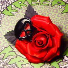 BLACK PVC SKULL BLOOD RED ROSE ROCKABILLY HAIR FLOWER