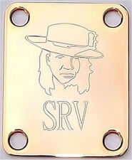 Engraved Etched GUITAR NECK PLATE Fender Size - STEVIE RAY VAUGHAN SRV - GOLD