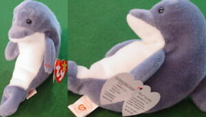 """TY Beanie Baby Babies """"ECHO"""" the DOLPHIN w/ WAVES Tags! Retired"""