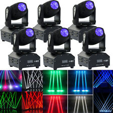 6PCS 60W LED Mini Moving Head Beam Lights DMX512 Stage Lighting Party DJ Light