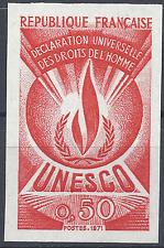 SERVICE N°41 DROITS DE L'HOMME ESSAI COULEUR ROUGE PROOF IMPERF 1971 NEUF ** MNH