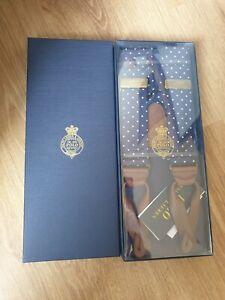 Ralph Lauren Polo Mens Classic Suspenders Braces Polka Dot Navy Blue White Silk