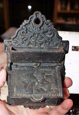 Venus & Cupid Vintage Decorative Black Cast Iron Match Safe