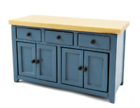 Dolls House Blue & Pine Sideboard Modern Kitchen Dining Room Furniture