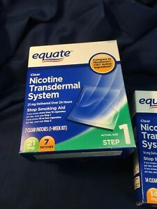 Nicotine Transdermal System Clear Patches Steps 1(21mg),2(14mg),&both boxes