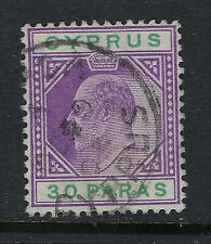 CYPRUS SCOTT #39 30 PARAS 1903 KING EDWARD VII ISSUE USED VF!