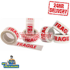 144 Rolls - 48mm x 50m Strong Fragile Printed Parcel Packing Packaging Tape Long