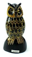 """B HORN Hand Carved WATER BUFFALO HORN Owl SCULPTURE Made In THAILAND 5"""" B0226"""