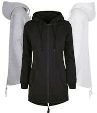 Damen Long Sweatjacke Sweat Parka Gr.XS-3XL schwarz grau weiss mit Kapuze BY148