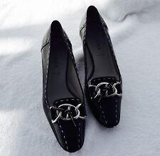 PRADA Black Leather Ladies Shoes White Stitching Mules low heel buckle SZ 5.5 M!