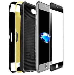 Swiss QA IPhone 7+ Card Slot Case With 2 Covers Black Gold & Screen Protector