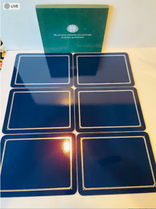 SOURCE PERRIER COLLECTION Blue Cork Vergeze Placemats- Set of 6 in Box