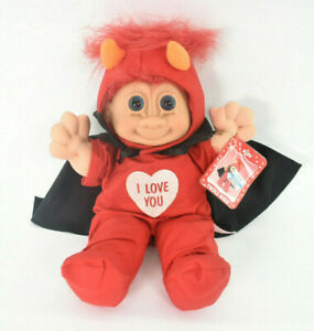 Russ Troll Kidz Red Hair Devil Horns Cape Doll Valentine I LoveYou Stuffed NWT