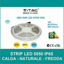 STRISCIA STRIP LED V-TAC FLESSIBILE 5M ADESIVA 5050  IP65 120° 60 LED AL METRO