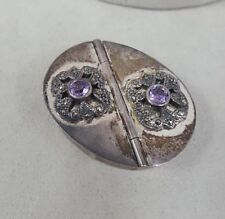 Vintage Pill Box Sterling Silver, Amethyst and Marcasite