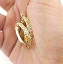 14K Solid Yellow Gold Eternity Endless Hoop Earrings Fancy Round 25 MM Wide