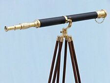 """Nautical Maritime Brass Leather Telescope 42"""" Antique with Wooden Tripod Stand"""