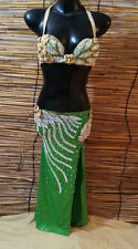Egyptian Belly Dance Costume bra & Skirt  New Professional Dancing Green Silver