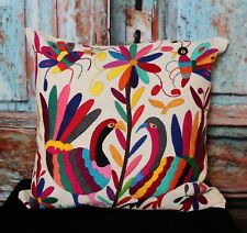 #19 Otomi Hand Embroidered Decorative Pillow Cover Birds & Bees Mexican Folk Art