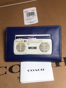 NWT Coach C3179 Slim Bifold Card Wallet with 80's Boombox Graphic