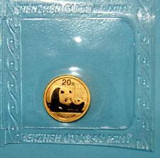 1/20 oz 20 Yuan Panda 2011 aus China / Münze mit 999 Gold 1/20 Unze in Folie