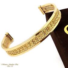 14K Yellow Gold CUFF Bangle, IMPERIAL GOLD Starlight Bracelet 15.4G 10mm c25 28