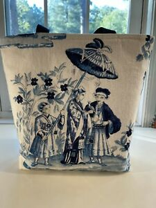 TOTE BAG CHINOISERIE LINEN IN BLUE AND CREAM