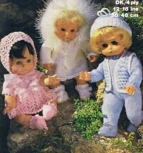 """Knitting Pattern 4 ply & DK Baby Dolls Clothes 12-14-16-18"""" 3 Outfits"""