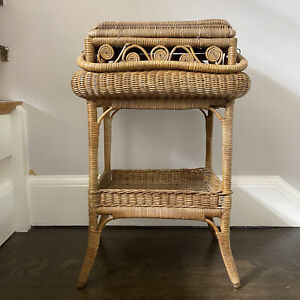 Antique Victorian Wicker Sewing Stand Basket Table