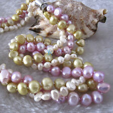 """18"""" 5-9mm White Champagne Purple Baroque 3Row Freshwater Pearl Necklace"""
