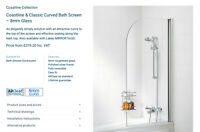 Lakes 800 x 1400 Bath Screen Shower Enclosure 8mm Glass RRP £320