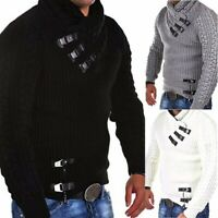 Thick Warm Lined Cardigan Mens Turtleneck Sweater knitted Coat Jacket Outwear