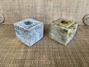 Natural Stone Heavy Cube Candle Incense Stick Tea Lights Holders Versatile