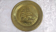 Vintage Large Metal Plate Dish Wall Hanging Ship Wall Art