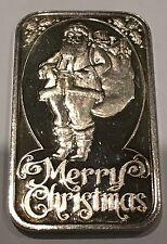 Merry Christmas Xmas Vintage Rare Collectible Art Bar 1 Troy Oz .999 Fine Silver