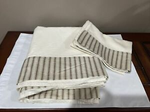 Madison Home Cream,Brown Striped Flat Sheet & One Pillow Case Queen Size-