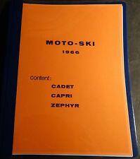VINTAGE 1966 MOTO-SKI CADET, CAPRI &  ZEPHYR SNOWMOBILE PARTS MANUAL (805)