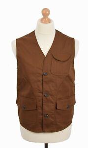 REAL HOXTON TOBACCO UTILITY VEST WORKWEAR CLOTHING CHORE JACKET WORKWEAR STYLE
